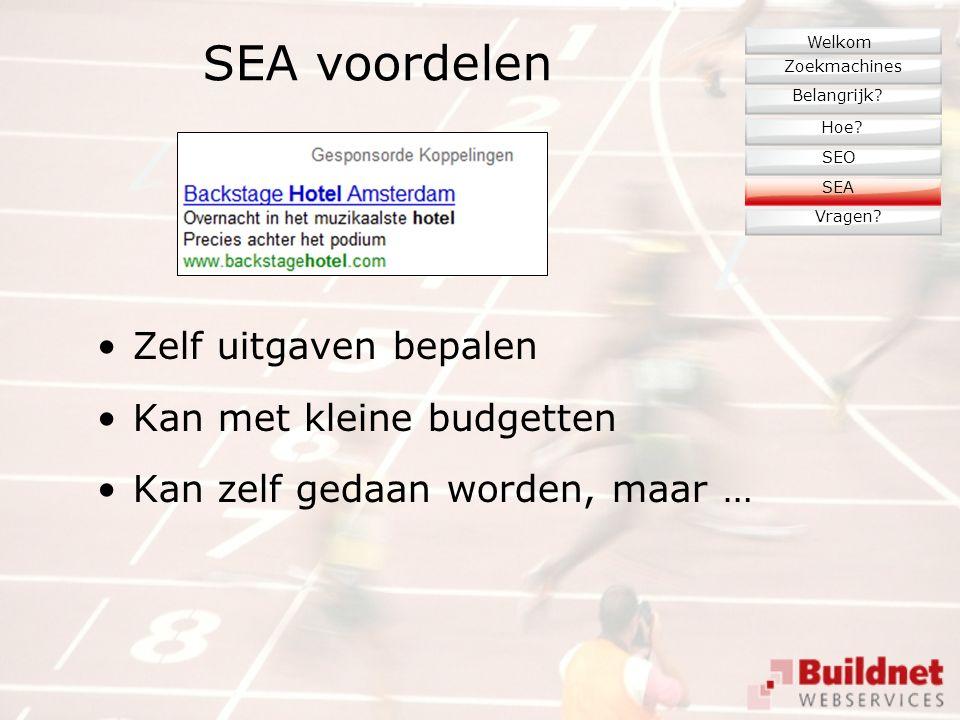 SEA voordelen Zelf uitgaven bepalen Kan met kleine budgetten Kan zelf gedaan worden, maar … Zoekmachines Belangrijk.
