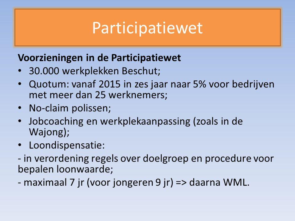 Participatiewet Voorzieningen in de Participatiewet 30.000 werkplekken Beschut; Quotum: vanaf 2015 in zes jaar naar 5% voor bedrijven met meer dan 25 werknemers; No-claim polissen; Jobcoaching en werkplekaanpassing (zoals in de Wajong); Loondispensatie: - in verordening regels over doelgroep en procedure voor bepalen loonwaarde; - maximaal 7 jr (voor jongeren 9 jr) => daarna WML.