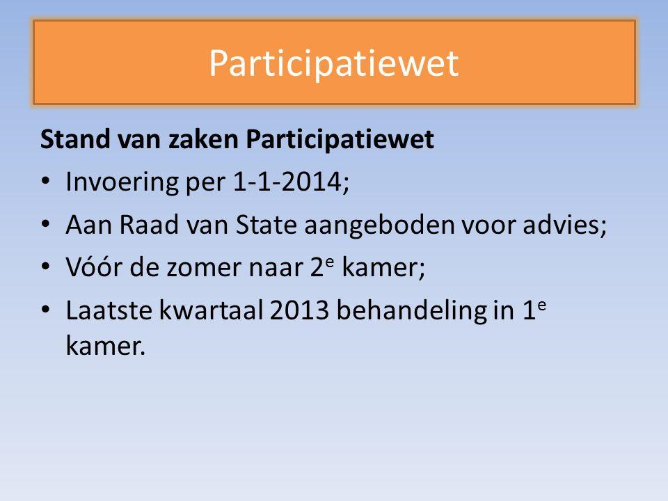 Participatiewet Stand van zaken Participatiewet Invoering per 1-1-2014; Aan Raad van State aangeboden voor advies; Vóór de zomer naar 2 e kamer; Laatste kwartaal 2013 behandeling in 1 e kamer.