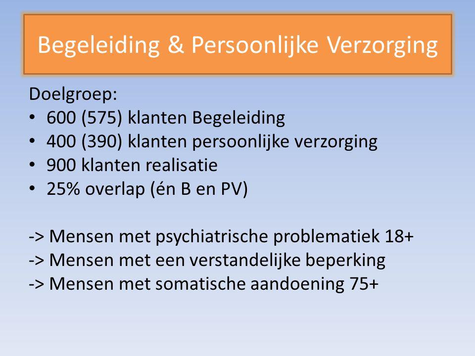 Begeleiding & Persoonlijke Verzorging Doelgroep: 600 (575) klanten Begeleiding 400 (390) klanten persoonlijke verzorging 900 klanten realisatie 25% overlap (én B en PV) -> Mensen met psychiatrische problematiek 18+ -> Mensen met een verstandelijke beperking -> Mensen met somatische aandoening 75+