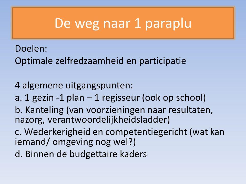 Doelen: Optimale zelfredzaamheid en participatie 4 algemene uitgangspunten: a.
