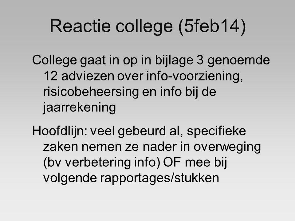 Reactie college (5feb14) College gaat in op in bijlage 3 genoemde 12 adviezen over info-voorziening, risicobeheersing en info bij de jaarrekening Hoofdlijn: veel gebeurd al, specifieke zaken nemen ze nader in overweging (bv verbetering info) OF mee bij volgende rapportages/stukken