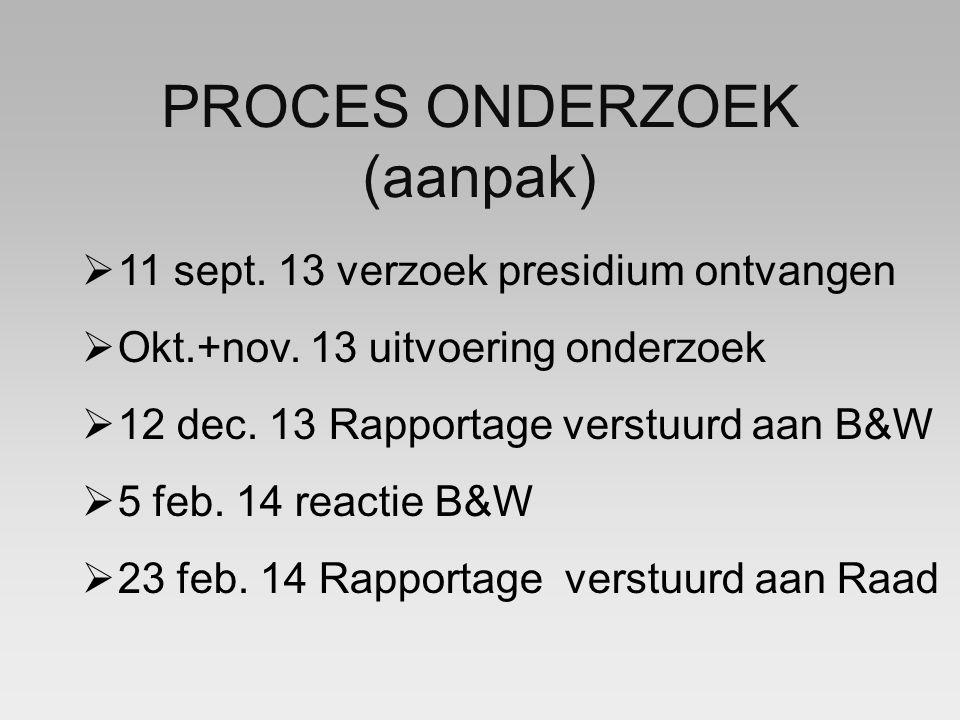 PROCES ONDERZOEK (aanpak)  11 sept. 13 verzoek presidium ontvangen  Okt.+nov.