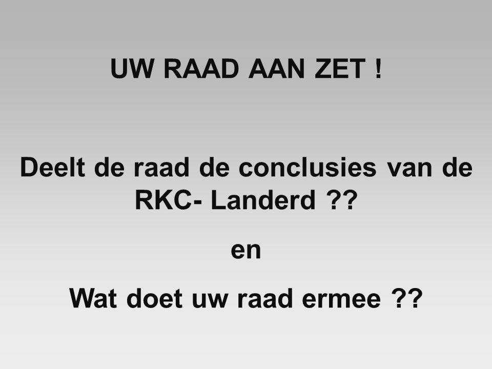 UW RAAD AAN ZET ! Deelt de raad de conclusies van de RKC- Landerd en Wat doet uw raad ermee