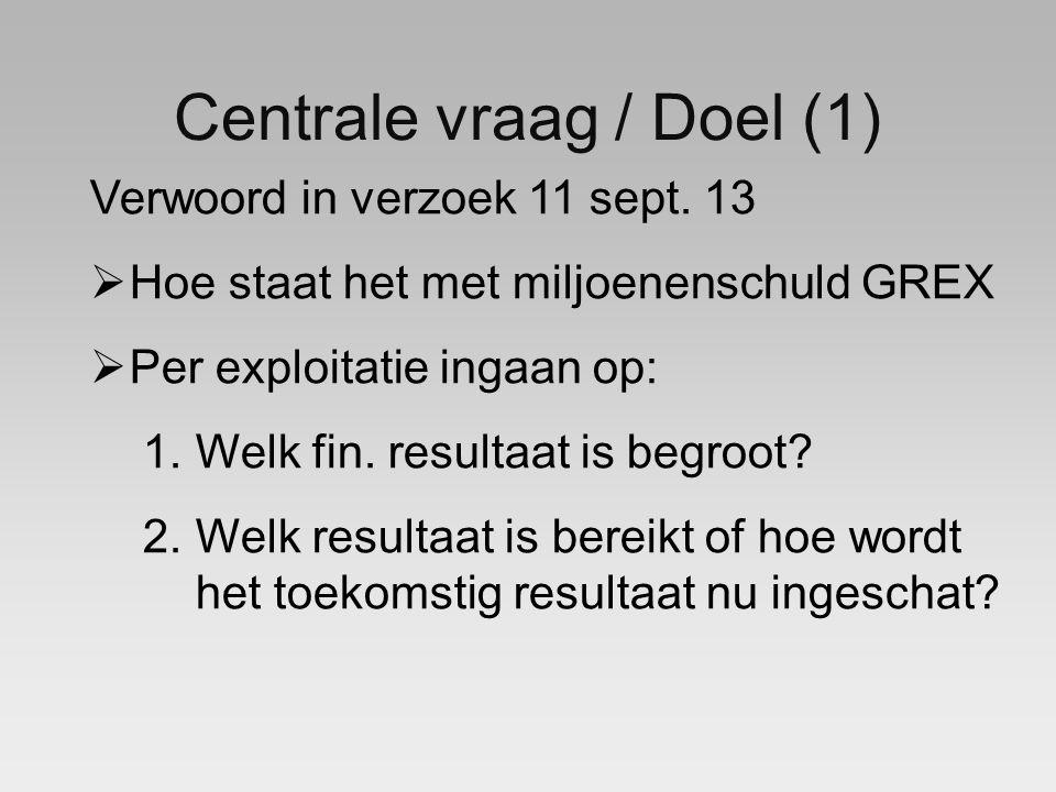 Centrale vraag / Doel (1) Verwoord in verzoek 11 sept.
