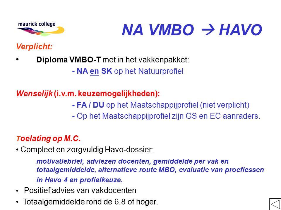 NA VMBO  HAVO Verplicht: Diploma VMBO-T met in het vakkenpakket: - NA en SK op het Natuurprofiel Wenselijk (i.v.m. keuzemogelijkheden): - FA / DU op