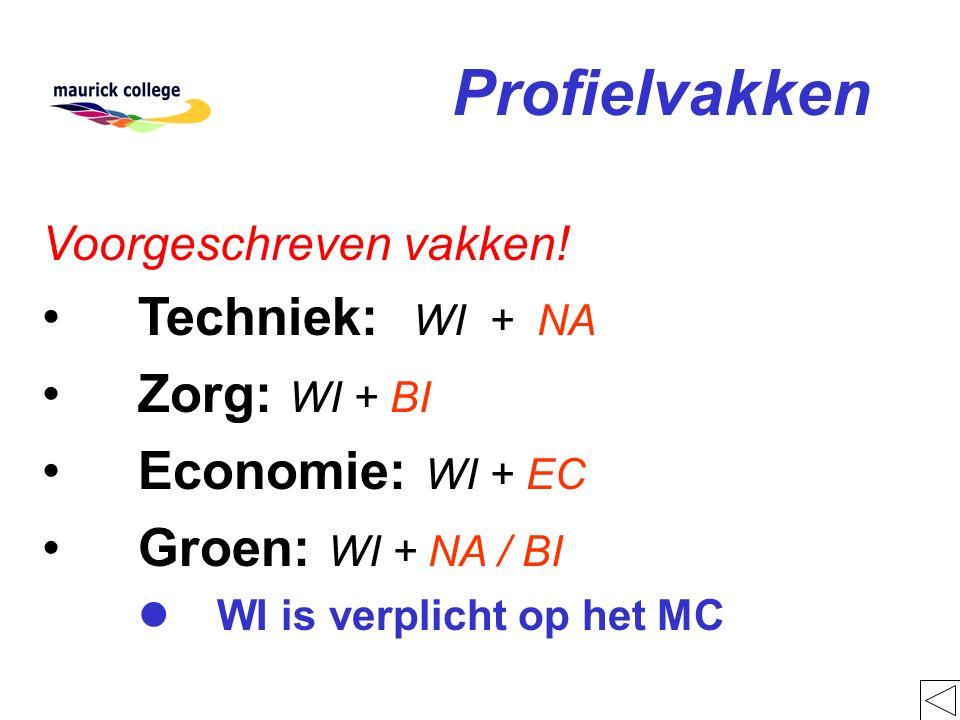 Profielvakken Voorgeschreven vakken! Techniek: WI + NA Zorg: WI + BI Economie: WI + EC Groen: WI + NA / BI l WI is verplicht op het MC