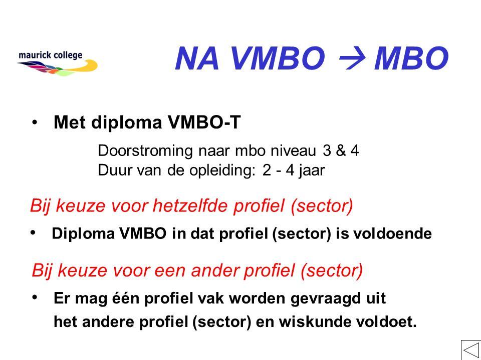 Doorstroming naar mbo niveau 3 & 4 Duur van de opleiding: 2 - 4 jaar NA VMBO  MBO Met diploma VMBO-T Bij keuze voor hetzelfde profiel (sector) Diplom