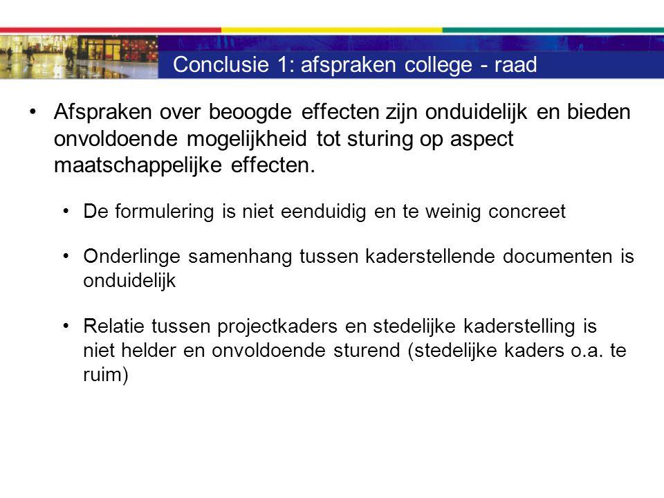 Conclusie 1: afspraken college - raad Afspraken over beoogde effecten zijn onduidelijk en bieden onvoldoende mogelijkheid tot sturing op aspect maatschappelijke effecten.