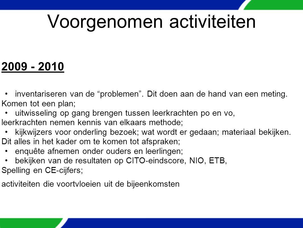 Voorgenomen activiteiten 2009 - 2010 inventariseren van de problemen .