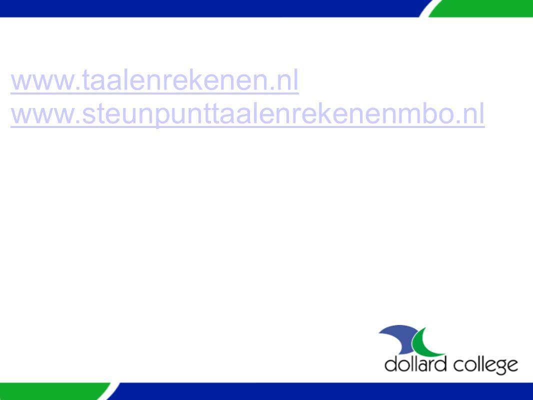 www.taalenrekenen.nl www.steunpunttaalenrekenenmbo.nl