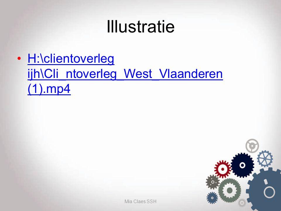 Illustratie H:\clientoverleg ijh\Cli_ntoverleg_West_Vlaanderen (1).mp4H:\clientoverleg ijh\Cli_ntoverleg_West_Vlaanderen (1).mp4 Mia Claes SSH