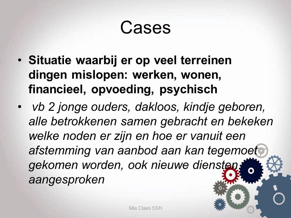 Cases Situatie waarbij er op veel terreinen dingen mislopen: werken, wonen, financieel, opvoeding, psychisch vb 2 jonge ouders, dakloos, kindje gebore