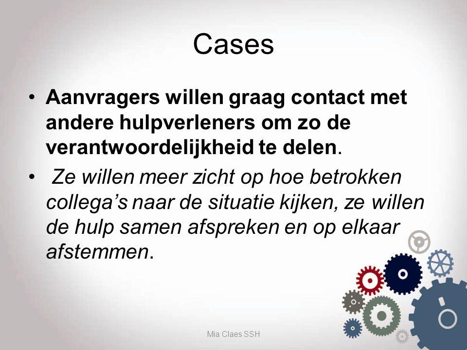 Cases Aanvragers willen graag contact met andere hulpverleners om zo de verantwoordelijkheid te delen. Ze willen meer zicht op hoe betrokken collega's