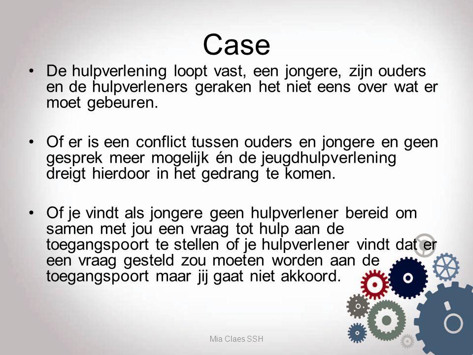 Case De hulpverlening loopt vast, een jongere, zijn ouders en de hulpverleners geraken het niet eens over wat er moet gebeuren. Of er is een conflict