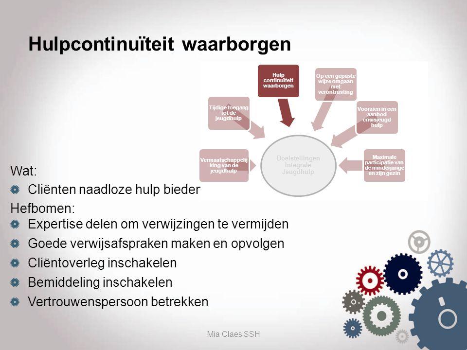 Hulpcontinuïteit waarborgen Wat: Cliënten naadloze hulp bieden Hefbomen: Expertise delen om verwijzingen te vermijden Goede verwijsafspraken maken en