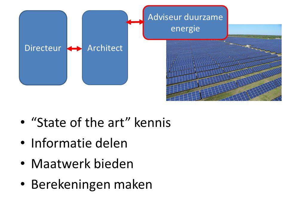 Directeur Architect Adviseur duurzame energie State of the art kennis Informatie delen Maatwerk bieden Berekeningen maken