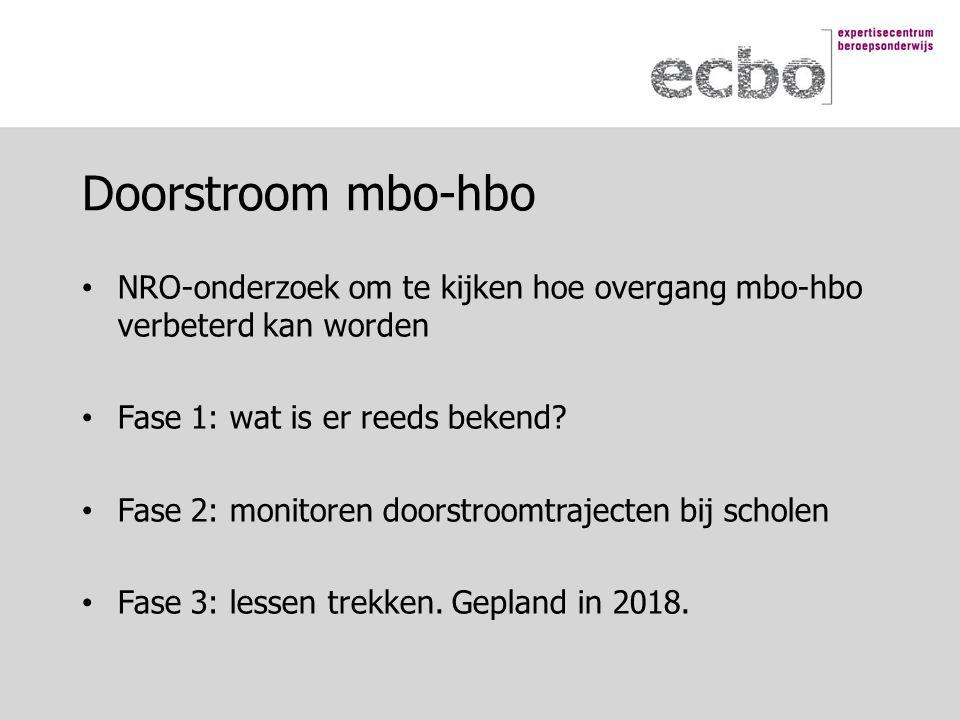NRO-onderzoek om te kijken hoe overgang mbo-hbo verbeterd kan worden Fase 1: wat is er reeds bekend.