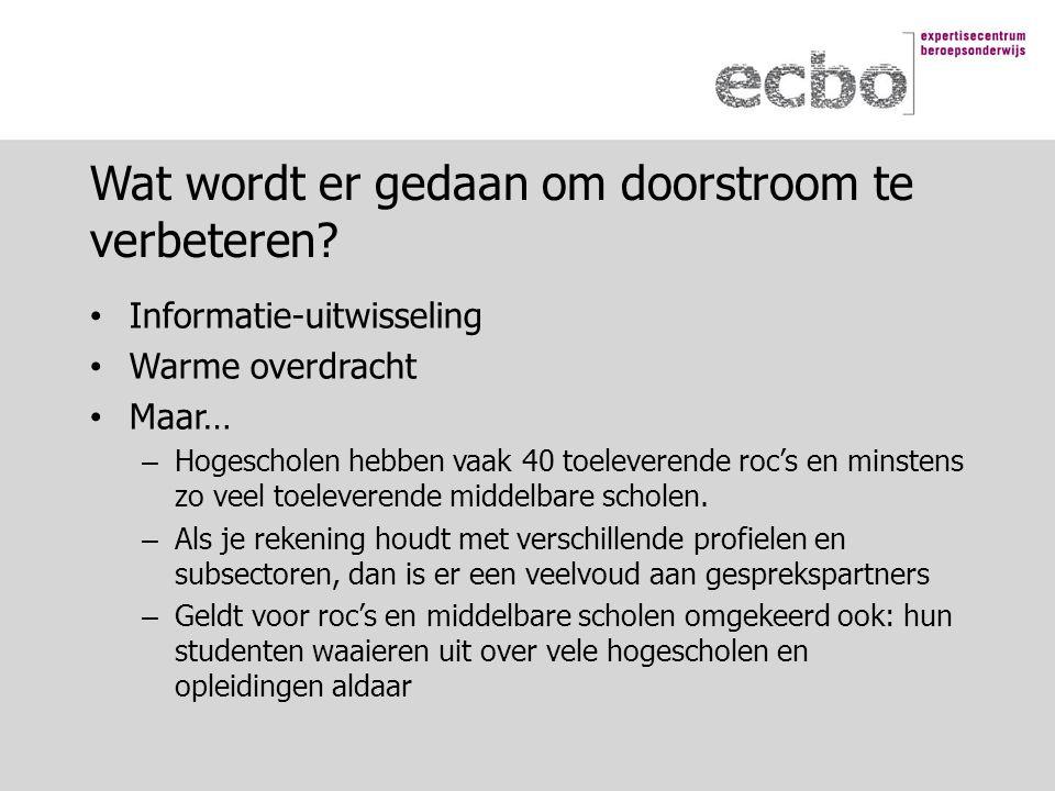 Informatie-uitwisseling Warme overdracht Maar… – Hogescholen hebben vaak 40 toeleverende roc's en minstens zo veel toeleverende middelbare scholen.