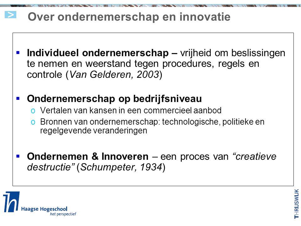 Over ondernemerschap en innovatie  Individueel ondernemerschap – vrijheid om beslissingen te nemen en weerstand tegen procedures, regels en controle (Van Gelderen, 2003)  Ondernemerschap op bedrijfsniveau oVertalen van kansen in een commercieel aanbod oBronnen van ondernemerschap: technologische, politieke en regelgevende veranderingen  Ondernemen & Innoveren – een proces van creatieve destructie (Schumpeter, 1934)