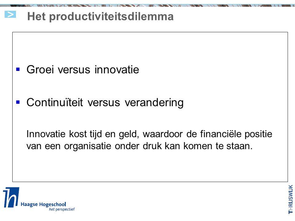 Het productiviteitsdilemma  Groei versus innovatie  Continuïteit versus verandering Innovatie kost tijd en geld, waardoor de financiële positie van een organisatie onder druk kan komen te staan.