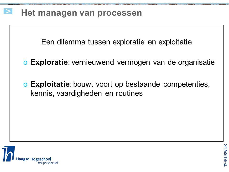 Het managen van processen Een dilemma tussen exploratie en exploitatie oExploratie: vernieuwend vermogen van de organisatie oExploitatie: bouwt voort op bestaande competenties, kennis, vaardigheden en routines