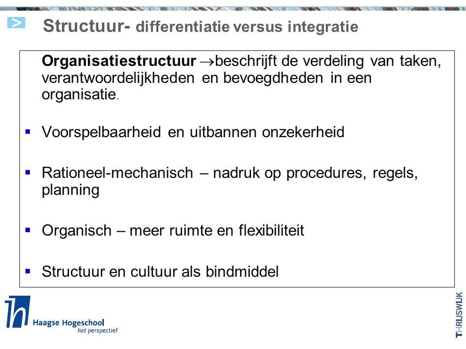 Structuur- differentiatie versus integratie Organisatiestructuur  beschrijft de verdeling van taken, verantwoordelijkheden en bevoegdheden in een organisatie.