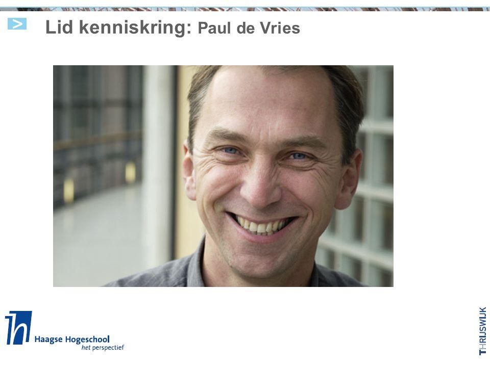 Lid kenniskring: Paul de Vries