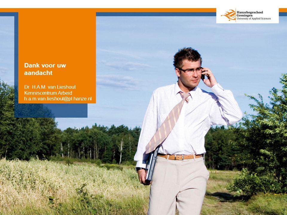 Dank voor uw aandacht Dr. H.A.M. van Lieshout Kenniscentrum Arbeid h.a.m.van.lieshout@pl.hanze.nl