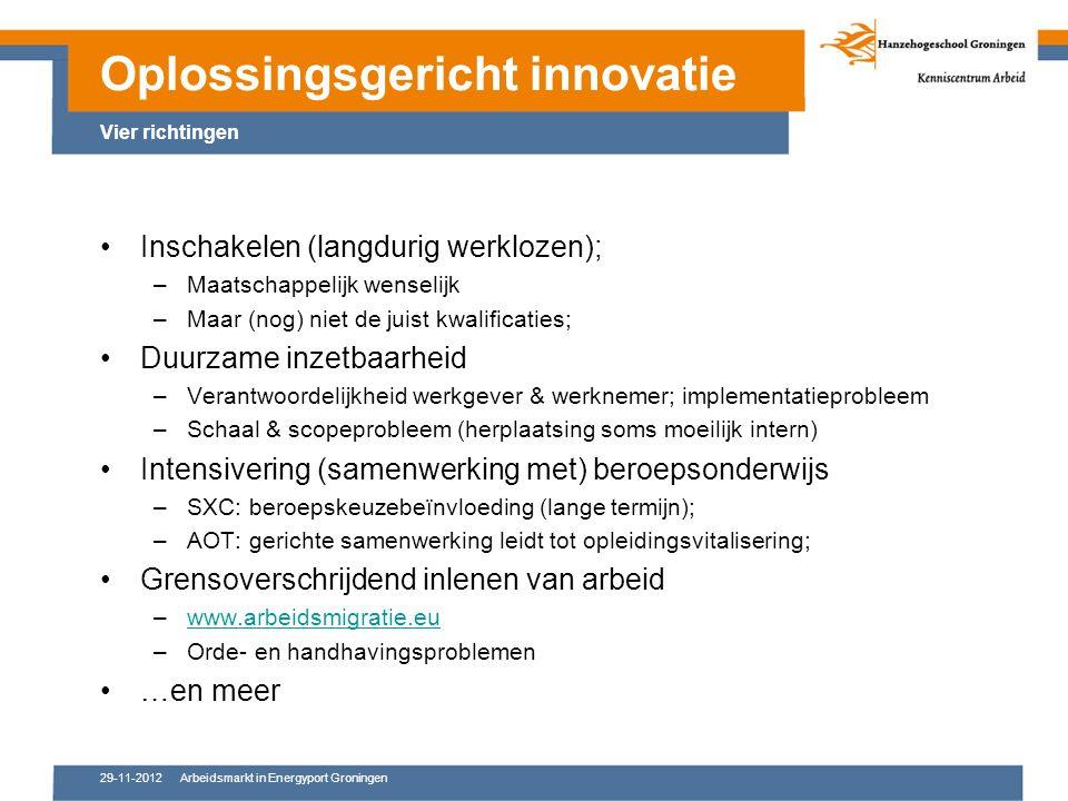 29-11-2012Arbeidsmarkt in Energyport Groningen Inschakelen (langdurig werklozen); –Maatschappelijk wenselijk –Maar (nog) niet de juist kwalificaties; Duurzame inzetbaarheid –Verantwoordelijkheid werkgever & werknemer; implementatieprobleem –Schaal & scopeprobleem (herplaatsing soms moeilijk intern) Intensivering (samenwerking met) beroepsonderwijs –SXC: beroepskeuzebeïnvloeding (lange termijn); –AOT: gerichte samenwerking leidt tot opleidingsvitalisering; Grensoverschrijdend inlenen van arbeid –www.arbeidsmigratie.euwww.arbeidsmigratie.eu –Orde- en handhavingsproblemen …en meer Oplossingsgericht innovatie Vier richtingen