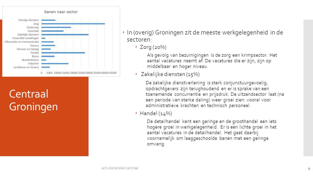 Centraal Groningen  In (overig) Groningen zit de meeste werkgelegenheid in de sectoren:  Zorg (20%) Als gevolg van bezuinigingen is de zorg een krimpsector.