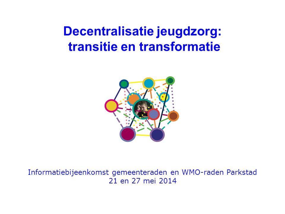 Decentralisatie jeugdzorg: transitie en transformatie Informatiebijeenkomst gemeenteraden en WMO-raden Parkstad 21 en 27 mei 2014