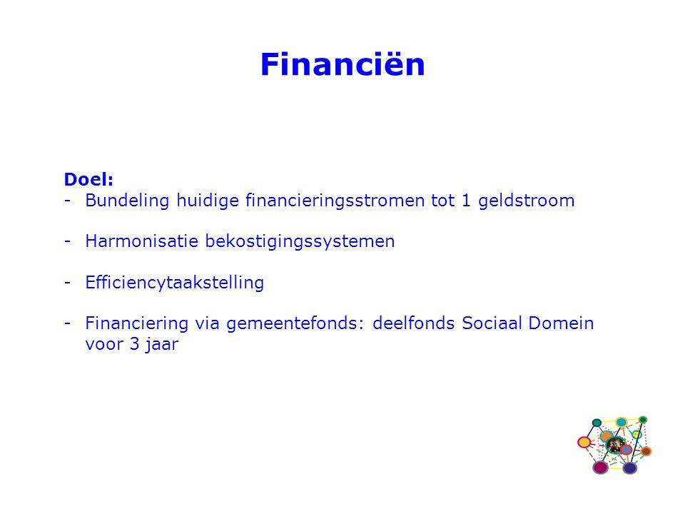 Doel: -Bundeling huidige financieringsstromen tot 1 geldstroom -Harmonisatie bekostigingssystemen -Efficiencytaakstelling -Financiering via gemeentefonds: deelfonds Sociaal Domein voor 3 jaar Financiën