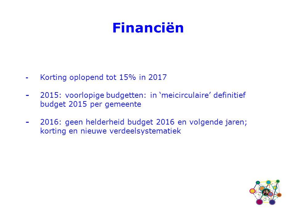 - Korting oplopend tot 15% in 2017 - 2015: voorlopige budgetten: in 'meicirculaire' definitief budget 2015 per gemeente - 2016: geen helderheid budget 2016 en volgende jaren; korting en nieuwe verdeelsystematiek Financiën