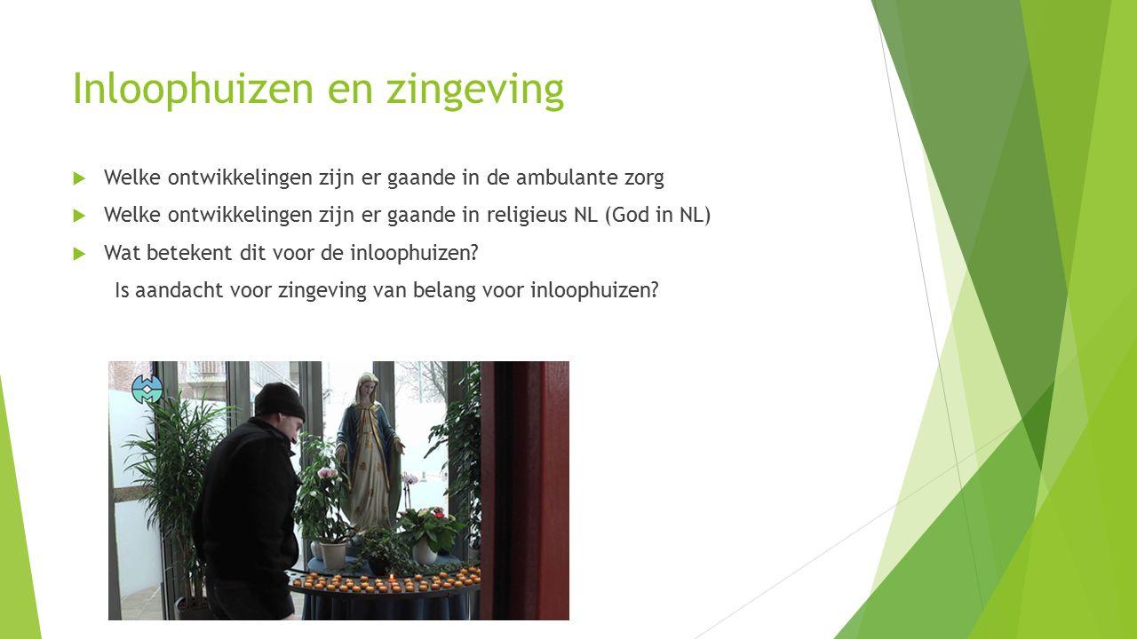 Inloophuizen en zingeving  Welke ontwikkelingen zijn er gaande in de ambulante zorg  Welke ontwikkelingen zijn er gaande in religieus NL (God in NL)
