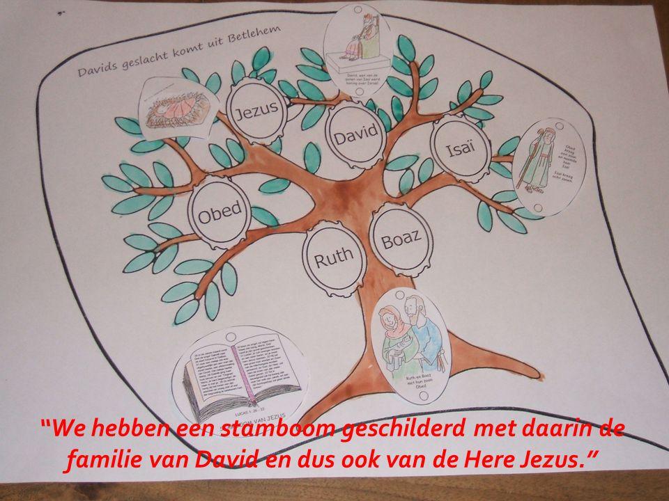 We hebben een stamboom geschilderd met daarin de familie van David en dus ook van de Here Jezus.