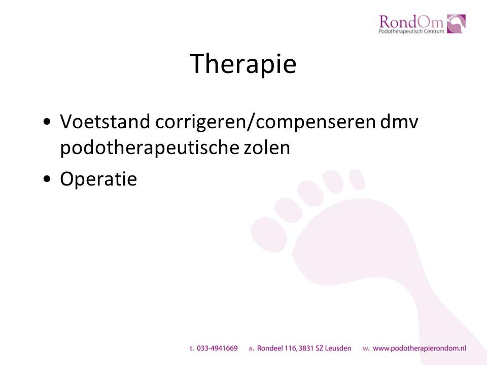 Therapie Voetstand corrigeren/compenseren dmv podotherapeutische zolen Operatie