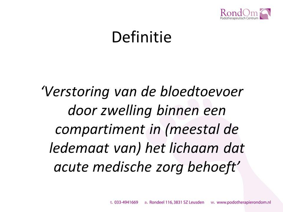 Definitie 'Verstoring van de bloedtoevoer door zwelling binnen een compartiment in (meestal de ledemaat van) het lichaam dat acute medische zorg behoeft'