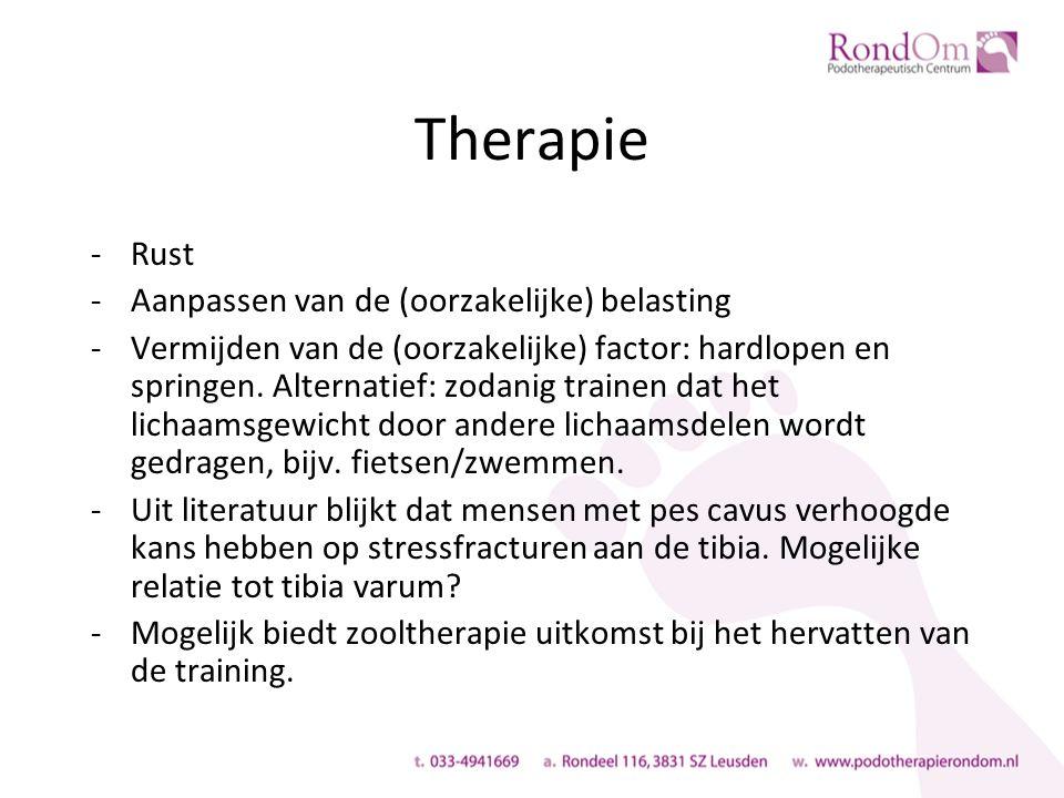 Therapie -Rust -Aanpassen van de (oorzakelijke) belasting -Vermijden van de (oorzakelijke) factor: hardlopen en springen.