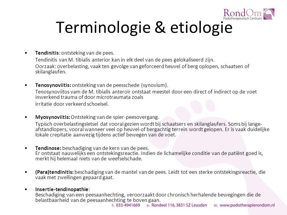 Terminologie & etiologie Tendinitis: ontsteking van de pees.