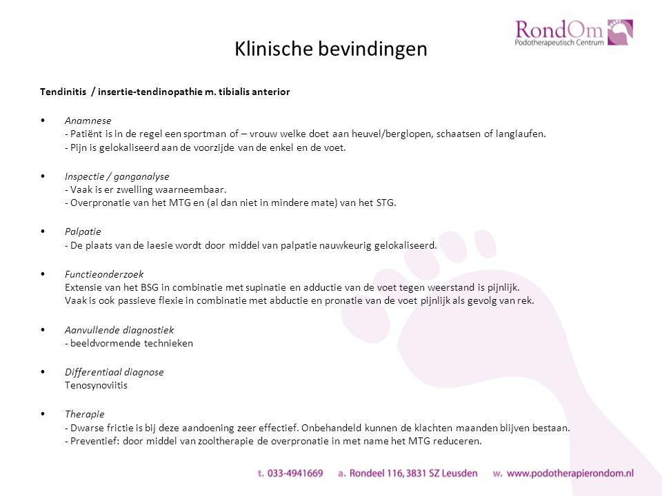 Klinische bevindingen Tendinitis / insertie-tendinopathie m.
