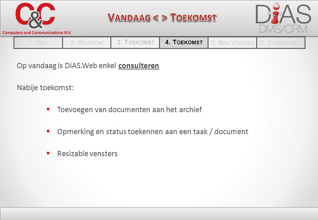 Op vandaag is DiAS.Web enkel consulteren Nabije toekomst:  Toevoegen van documenten aan het archief  Opmerking en status toekennen aan een taak / document  Resizable vensters 1.