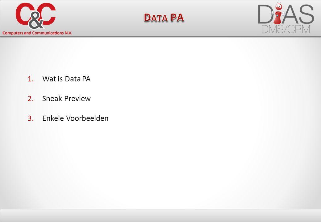1.Wat is Data PA 2.Sneak Preview 3.Enkele Voorbeelden