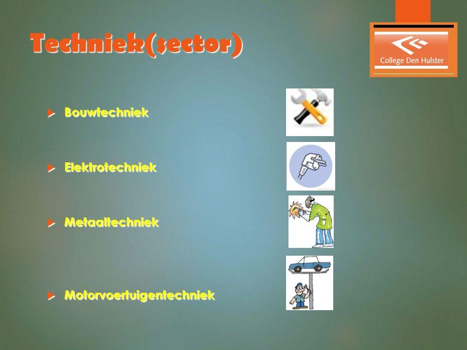 Techniek(sector)  Bouwtechniek  Elektrotechniek  Metaaltechniek  Motorvoertuigentechniek