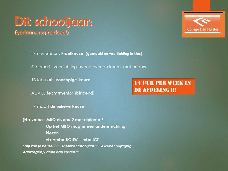 Dit schooljaar: (gedaan..nog te doen!) 27 november : Proefkeuze (gemaakt na voorlichting in klas) 5 februari : voorlichtingsavond over de keuze, met o