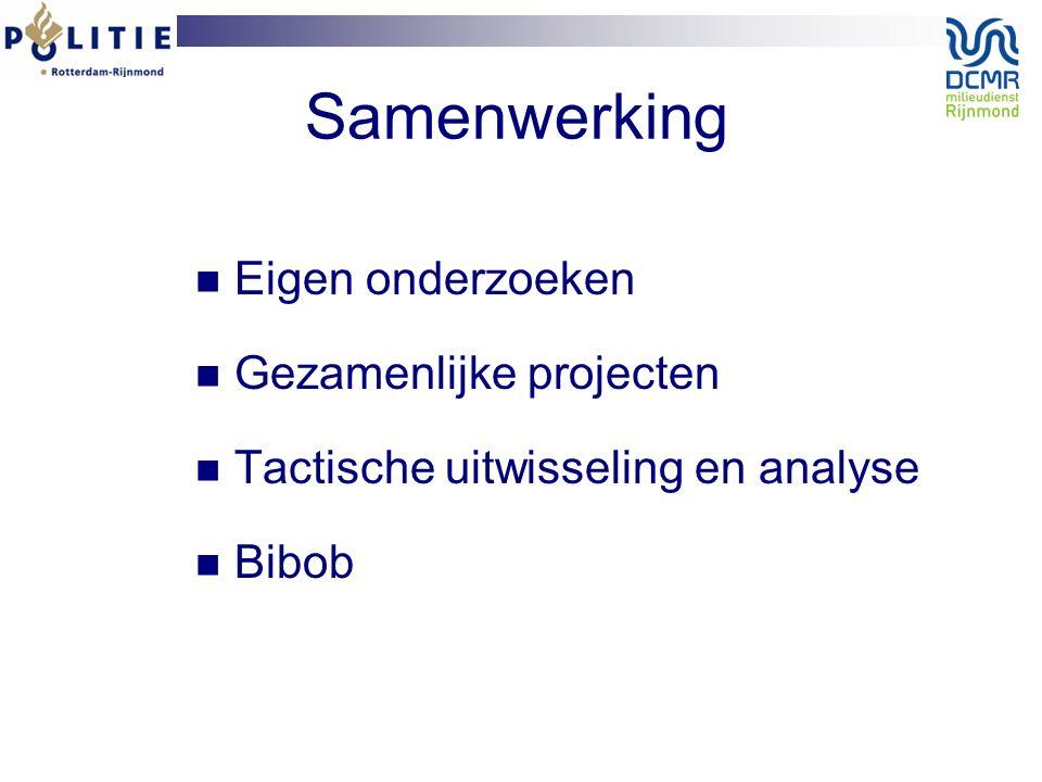 Samenwerking Eigen onderzoeken Gezamenlijke projecten Tactische uitwisseling en analyse Bibob