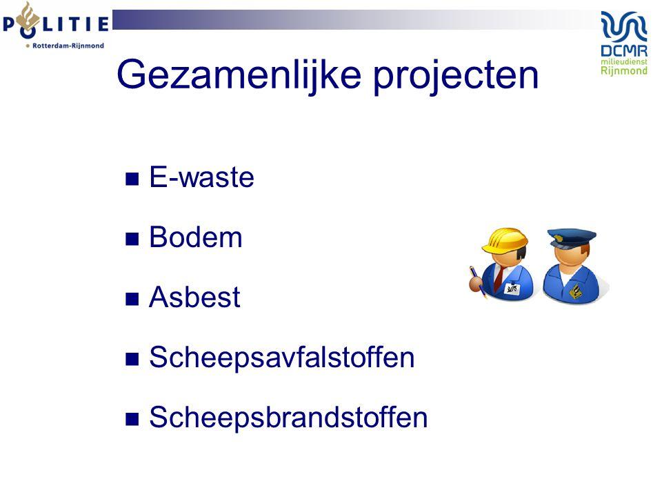 Gezamenlijke projecten E-waste Bodem Asbest Scheepsavfalstoffen Scheepsbrandstoffen