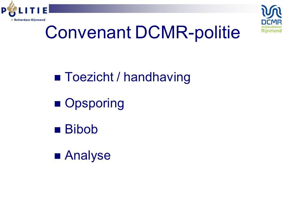 Convenant DCMR-politie Toezicht / handhaving Opsporing Bibob Analyse