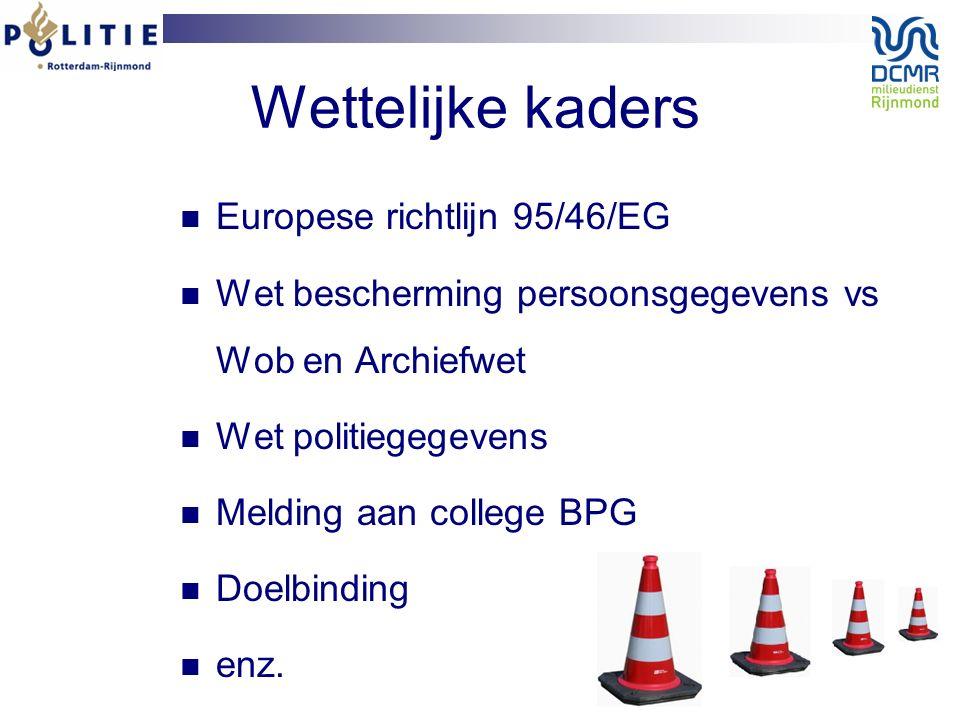 Wettelijke kaders Europese richtlijn 95/46/EG Wet bescherming persoonsgegevens vs Wob en Archiefwet Wet politiegegevens Melding aan college BPG Doelbinding enz.