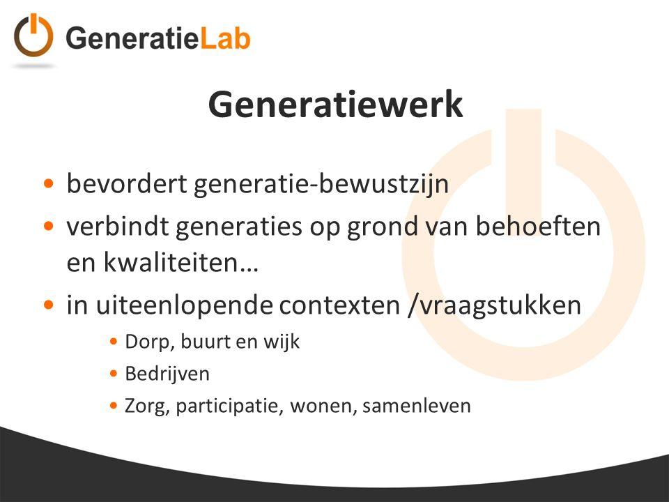 Generatiewerk bevordert generatie-bewustzijn verbindt generaties op grond van behoeften en kwaliteiten… in uiteenlopende contexten /vraagstukken Dorp,